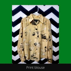 Botanical print 100% silk button-up blouse